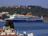 F/B Blue Star Patmos,under Mytilene Castle