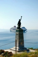 OCEAN VILLAGE with Liberty Statue of Mytilene